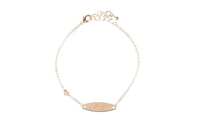 """Pulseira dourada com plaquinha """"I Love You"""" por R$26 na <a href=""""http://www.amomuito.com/bijoux/18382-pulseira-i-love-you-dourada.html"""" target=""""_blank"""">Amo Muito</a>"""