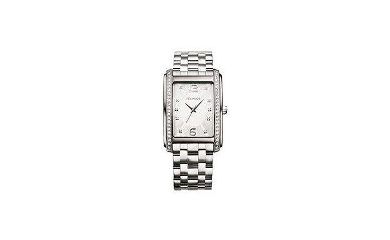 """Relógio quadrado prata por R$460,90 na <a href=""""http://www.dumontonline.com.br/produto/4434-relogio-technos-2035ffk1k"""" target=""""_blank"""">Joalheria Dumont</a>"""