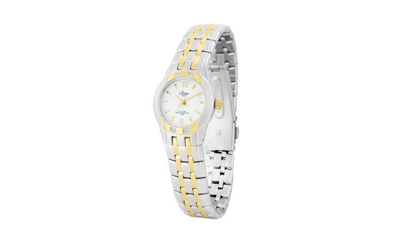 """Relógio dourado e prateado clássico por R$199 na <a href=""""http://www.joiaslulean.com.br/relogio-condor-feminino-ka75286b-analogico-resistente-agua-100m-pulseira-aco?"""" target=""""_blank"""">Joias LuLean</a>"""