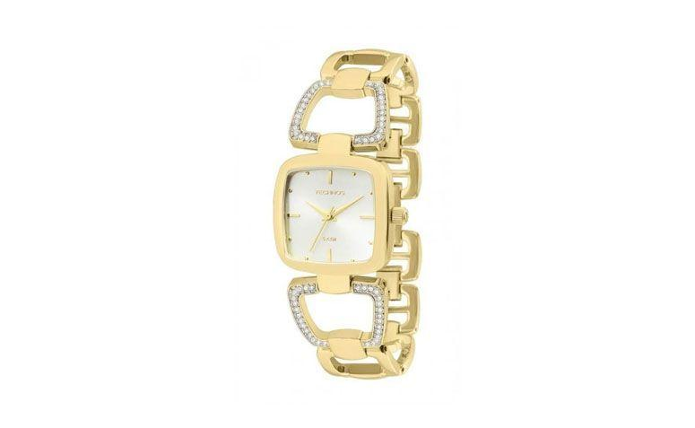 """Relógio dourado grande com pulseira vazada por R$460,90 na <a href=""""http://www.dumontonline.com.br/produto/7586-relogio-technos"""" target=""""_blank"""">Joalheria Dumont</a>"""