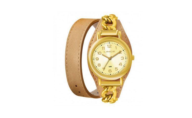 """Relógio dourado com pulseira de couro dupla por R$129 na <a href=""""http://www.eclock.com.br/relogio-lince/feminino/relogio-lince-feminino-lrc4239l-c2tk"""" target=""""_blank"""">Eclock</a>"""