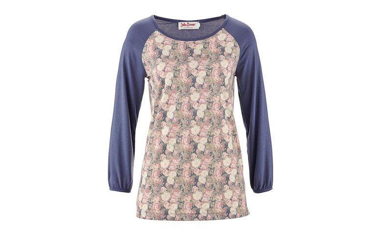 """Camiseta ¾ floral por R$49,90 na <a href=""""http://ad.zanox.com/ppc/?29470443C69044588&ULP=[[http://www.posthaus.com.br/moda/camiseta-stretch-manga-3-4-azul_art192567.html?utm_source=zanox&utm_medium=afiliados&utm_campaign=deeplink]]"""" target=""""_blank"""">Posthaus</a>"""