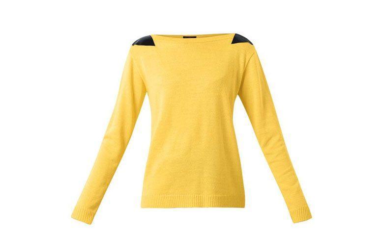 """Suéter amarelo com detalhe em couro sintético por R$139,99 na <a href=""""http://ad.zanox.com/ppc/?29470443C69044588&ULP=[[http://www.posthaus.com.br/moda/sueter-amarelo-com-detalhe-couro-sintetico_art186482.html?utm_source=zanox&utm_medium=afiliados&utm_campaign=deeplink]]"""" target=""""_blank"""">Posthaus</a>"""