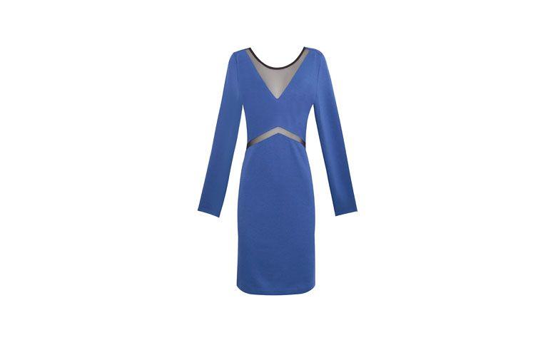 """Vestido de manga longa com transparências no decote e na cintura por R$219 na <a href=""""http://www.oqvestir.com.br/vestido-bicolor-recortes---azul-e-preto-44154.aspx/p"""" target=""""_blank"""">OQ Vestir</a>"""