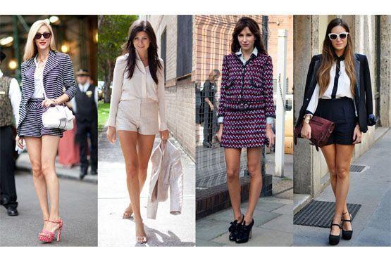 Uma das formas mais modernas de aderir à tendência é trocar a calça do look por shorts e saias.