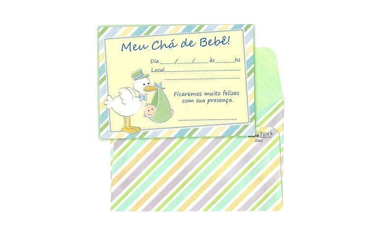 Invitasjon Stork med konvolutt (8 stk.) For R $ 8,81 på Party Express