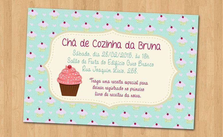 """Convite cupcakes por R$ 1,60 no <a href=""""http://www.elo7.com.br/convite-cha-de-cozinha-cupcake/dp/4D590F#hsn=0&df=d&uso=d&smk=0&pso=up&osbt=b-o&srq=1&sv=0 """" target=""""_blank"""">Elo7</a>"""