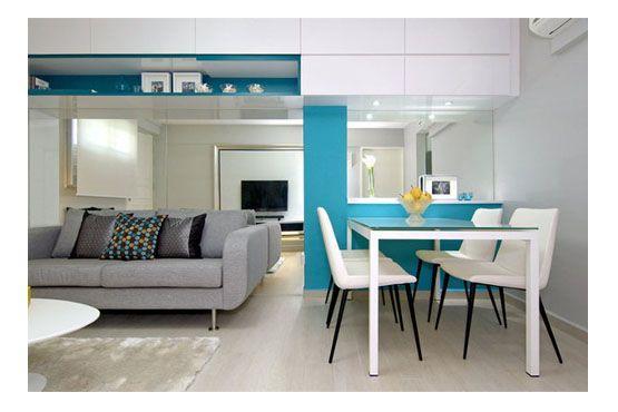 """Toques de cor em partes da parede muda totalmente o """"clima"""" do cômodo e o torna mais iluminado."""