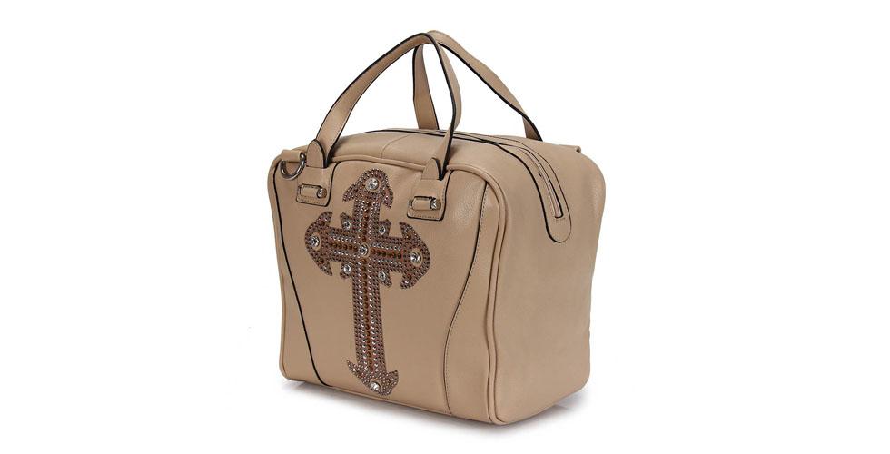 <p>Bolsa nude com estampa de cruz – Madame Marie por R$189 na Loja Passarela. </p>