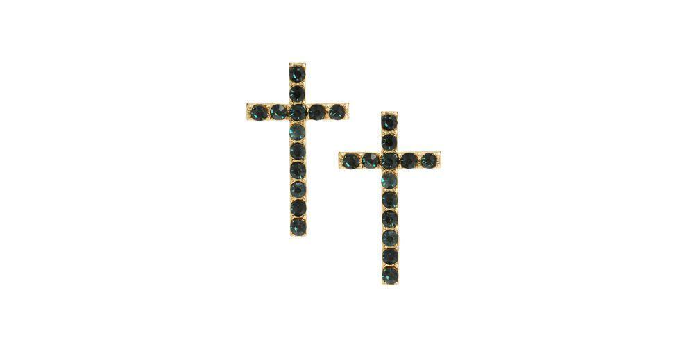 <p>Brinco de cruz com pedraria verde – Asos por US$10 na Loja Asos.</p>