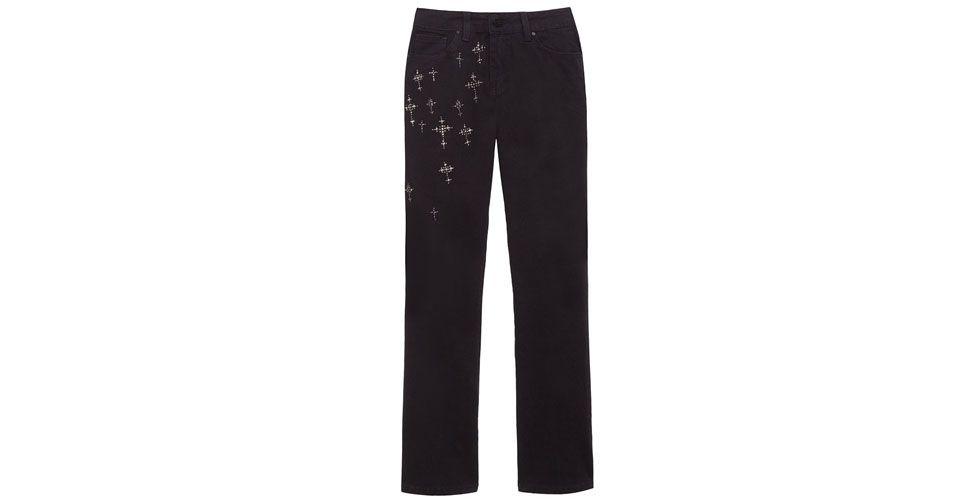 <p>Calça jeans preta com detalhes de cruzes – Le Lis Blanc por R$179,40 na Loja OQvestir. </p>