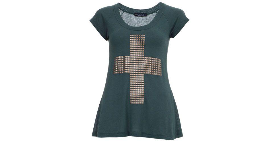 <p> T-shirt de de cruz com aplicações metálicas – Vi and Co vi por R$119 na Loja Farfetch.</p>