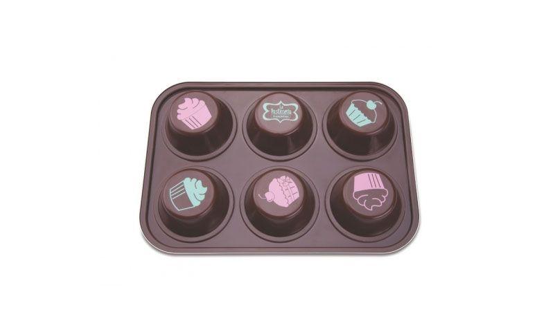 """Forma para 6 cupcakes por R$83,47 na <a href=""""http://viainox.com/produto/forma-para-cupcake-6-divisoes-la-pasticceria/27899031/116/"""" target=""""blank_"""">Via Inox</a>"""