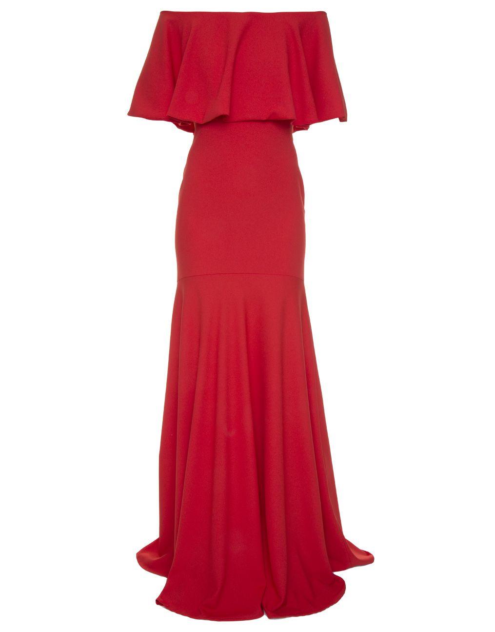 "Vestido longo vermelho com decote ombro a ombro Candy Brown por R$2.500 na <a href=""http://www.gallerist.com.br/vestido-longo-giulia-candy-brown-10398.aspx/p"" target=""blank_"">Gallerist</a>"