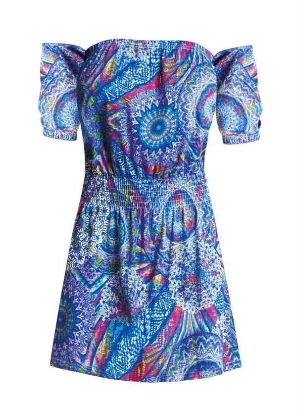 """Vestido estampado com decote ombro a ombro Modapop por R$ 29,99 na <a href=""""http://ad.zanox.com/ppc/?27713758C43009238&ULP=[[http://www.posthaus.com.br/moda/vestido-ciganinha-estampa-mandala_art210257.html?PAC_ID=125109]]"""" target=""""blank_"""">Posthaus</a>"""