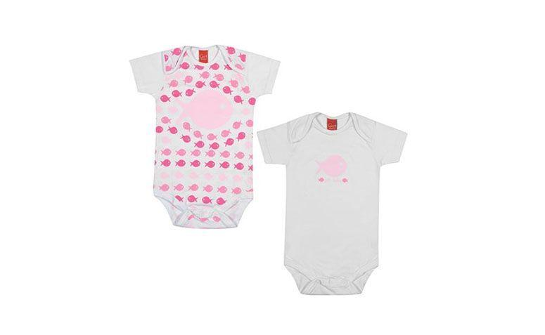"Kit Body feminino por R$37,95 na <a href=""http://www.klin.com.br/kit-2-body-get-baby-feminino-manga-curta-peixinhos/p"" target=""blank_"">Klin</a>"