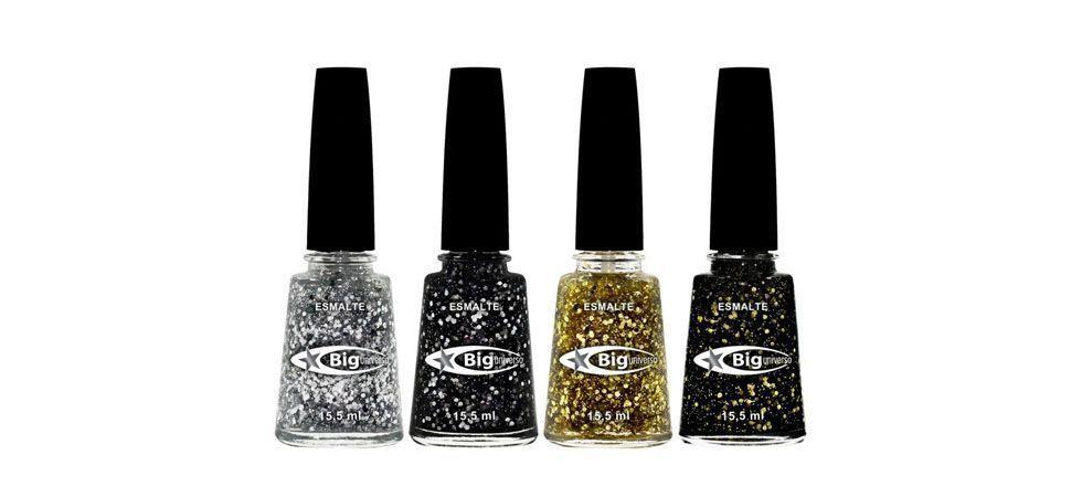 <p>Órion (glitter prata sobre base transparente) </p> <p>Aquarius (base preta com glitter prata) </p> <p>Carina (glitter dourado sobre base transparente) </p> <p>Taurus (base preta com glitter dourado) </p> <p>Preço médio (unidade): R$2</p>