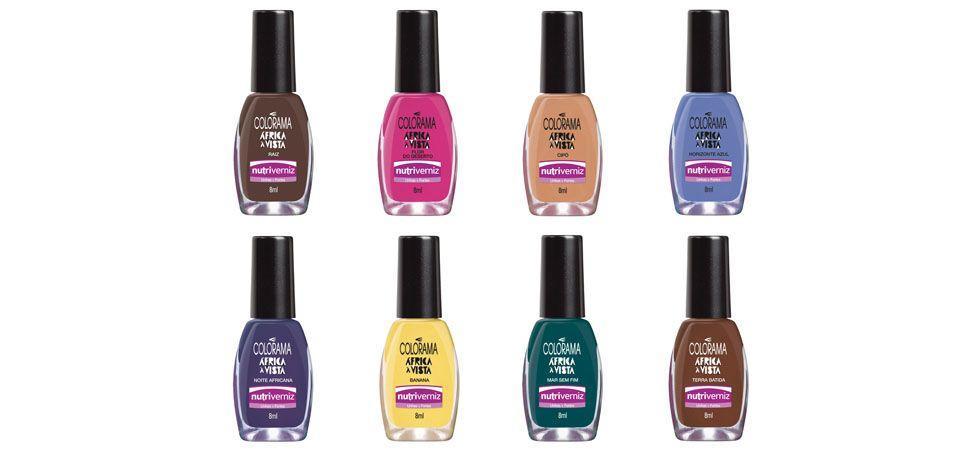 <p>Raiz (marrom escuro cremoso) </p> <p>Flor do Deserto (rosa chiclete cremoso) </p> <p>Cipó (nude rosado cremoso) </p> <p>Horizonte Azul (azul claro cremoso) </p> <p>Noite Africana (azul/roxo) </p> <p>Banana (amarelo claro um pouco cintilante) </p> <p>Mar sem Fim (verde azulado) </p> <p>Terra Batida (marrom claro cremoso) </p> <p>Preço médio (unidade): R$3,90</p>