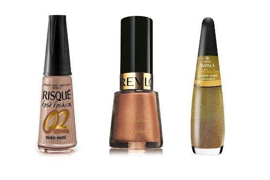 Você é criativa, ousada e envolvente. Além disso, é supervaidosa e adora seguir as tendências da moda. Sem medo de ousar, gosta de tudo que chama a atenção. Por isso, a cor de esmalte que mais combina com você é o bronze, que mostra a sua força. Foto: Reprodução.  Ouro Nude (Risqué) – R$2,40; Copper Penny (Revlon) – R$15,50; R$3,10; Celebrate (Impala) – R$3,80.
