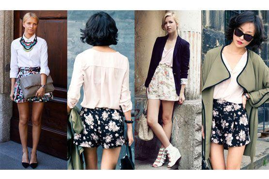 1 Shorts com estampa floral