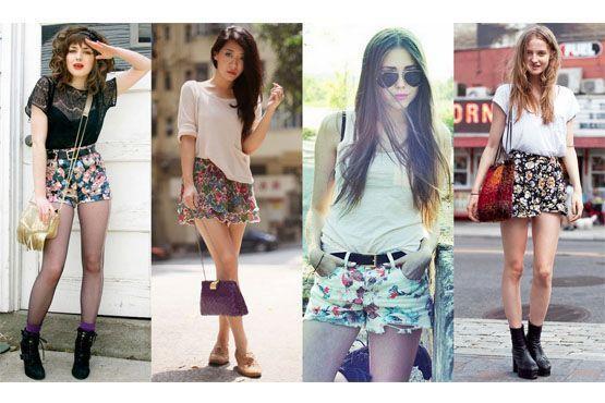 2 Shorts com estampa floral