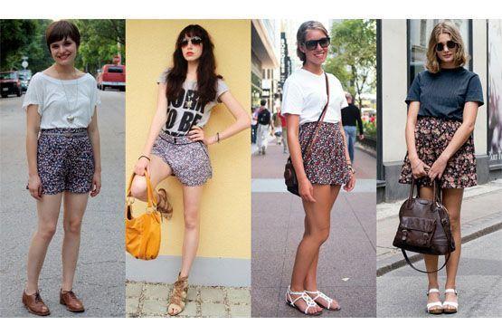 3 Shorts com estampa floral