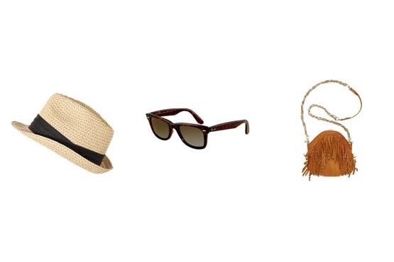 Acessórios que não podem faltar no seu look de festival incluem o chapéu, óculos e uma bolsa.