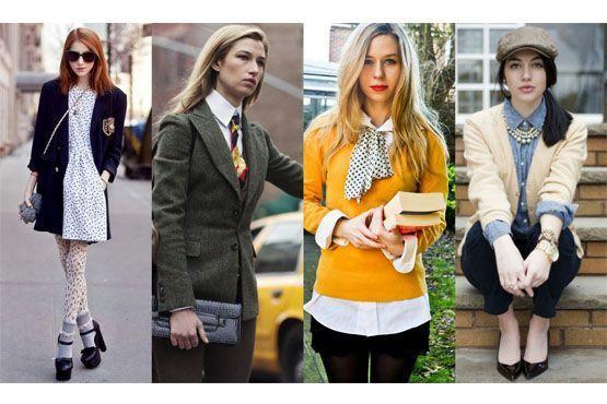 Blazers estruturados, calças de alfaiataria, gravatas e meias-calças agregam-se ao estilo.