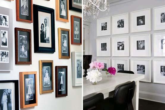 Os porta retatos podem ser usados na decoração de paredes.