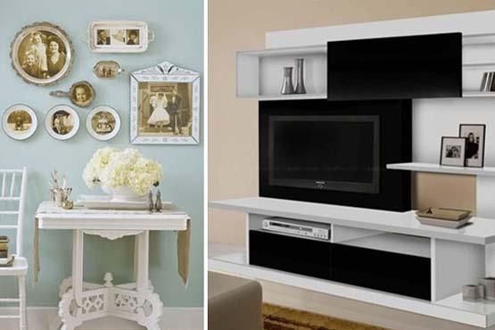 Use molduras diferentes nas fotos de família e aposte nos porta retatos em prateleiras e armários.