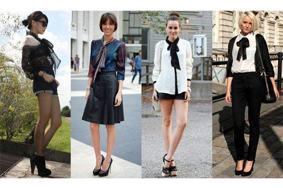 Para um visual elegante, opte por camisas gola laço em tecidos nobres e cores sóbrias, como o off-white, branco e preto.