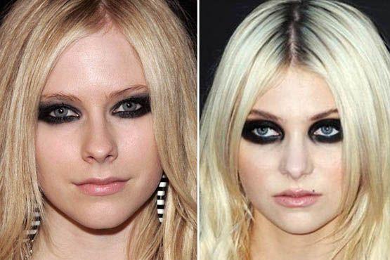 """A maquiagem muito carregada nos olhos deixou Avril Lavigne e Taylor Momsen com o visual estilo """"panda"""""""