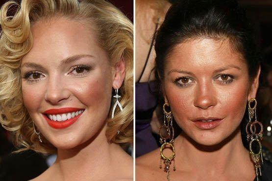 Na tentativa de um visual mais bronzeado, Katherine Heigl e Catherine Zeta-Jones pesaram a mão na maquiagem com efeito bronzeador e iluminador
