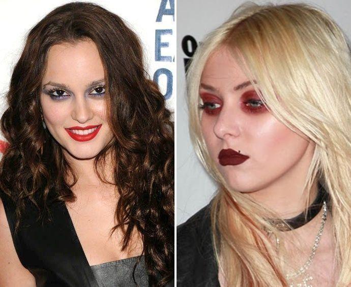 Leighton Meester e Taylor Momsen não souberam combinar as cores das sombras