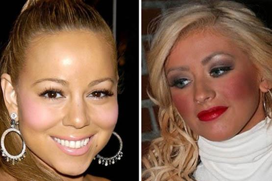 A cor do batom deve combinar com o blush e deixar o visual harmonioso. Parece que Mariah Carey e Christina Aguilera não fizeram boas escolhas
