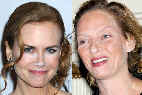 Opa! O finalizador de maquiagem de Nicole Kidman e Uma Thurman ficou em evidência com a luz do flash