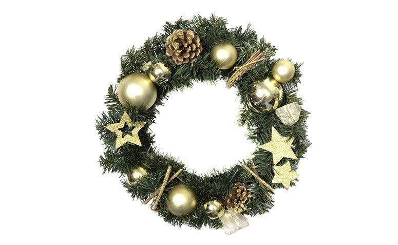 "Guirlanda natalina decorada por R$ 89,91 no <a href=""http://www.submarino.com.br/produto/123963384/guirlanda-natalina-decorada-43cm-orb-christmas"" target=""_blank"">Submarino</a>"