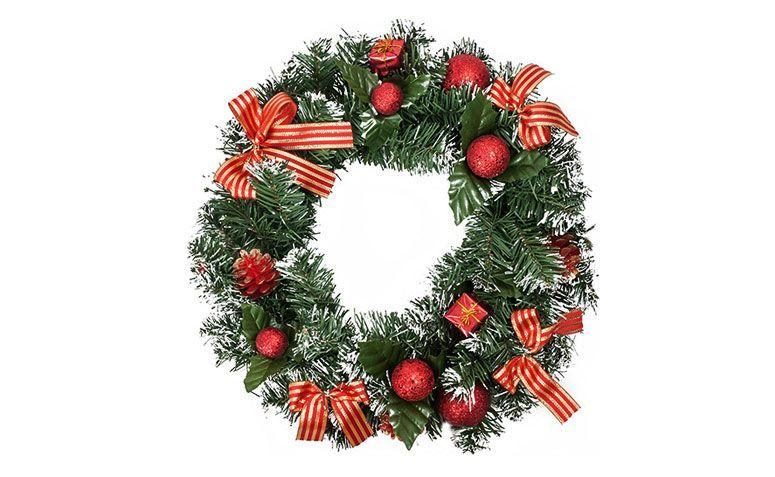 "Guirlanda decorada por R$ 44,91 no <a href=""http://www.submarino.com.br/produto/124069587/guirlanda-decorada-40cm-orb-christmas"" target=""_blank"">Submarino</a>"