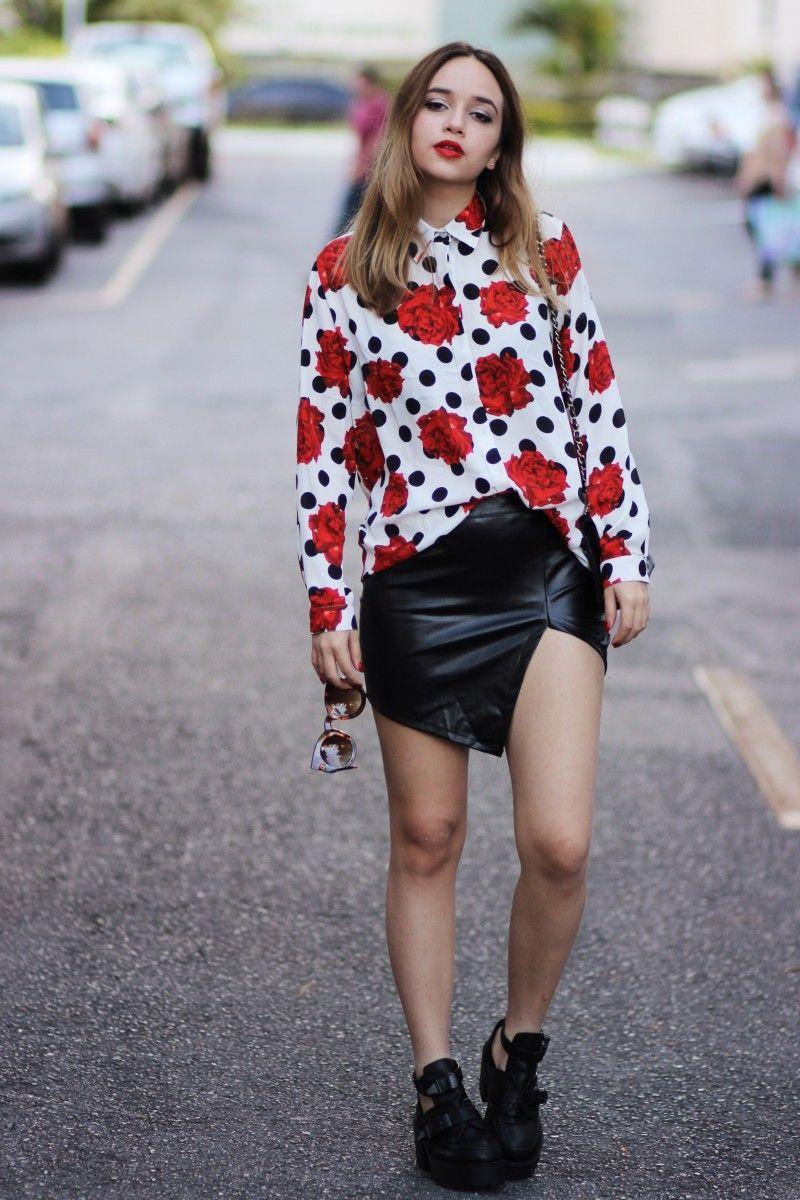 """Foto: Reprodução / <a href=""""http://anasfashionblog.com.br/look-do-dia-estampa-de-rosas-e-bolinhas/"""" target=""""_blank"""">Ana's Fashion Blog</a>"""