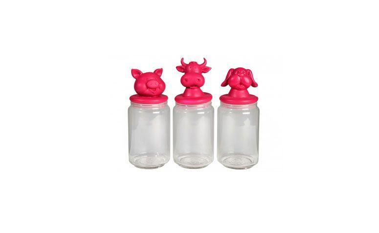 """Kit potes animais rosa por R$253,00 na <a href=""""https://www.popdecor.com.br/cozinha/kit-potes-animais.html"""" target=""""blank_"""">Pop Decor</a>"""