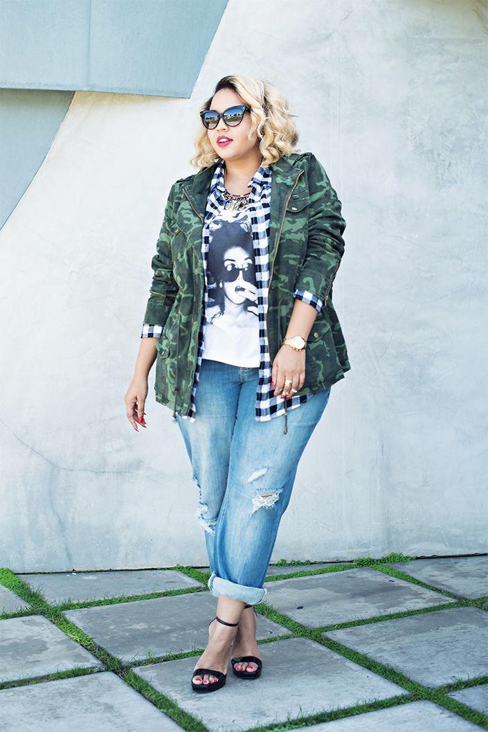 "Foto: Reprodução / <a href=""http://gabifresh.com/2014/09/camouflage-jacket-plus-size-fall-2014/"" target=""_blank"">Gabi Fresh</a>"