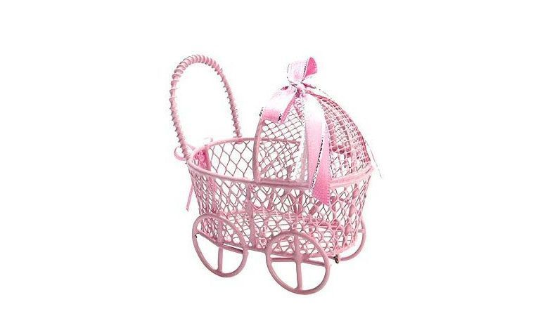 """Carrinho de bebê aramado por R$15,95 na <a href=""""http://www.magazine25.com.br/p/lembrancinha-maternidade--carrinho-do-bebe-aramado-rosa"""" target=""""blank_"""">Magazine 25</a>"""