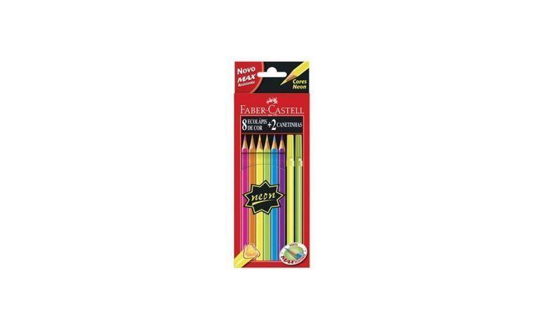 """Lápis de cor neon Faber Castell por R$18,50 na <a href=""""http://www.portinfo.com.br/material-escolar/lapis/lapis-de-cor/lapis-de-cor-faber-castell-08-cores-neon-2-canetinhas-ref-121308-2"""" target=""""_blank"""">Portinfo</a>"""