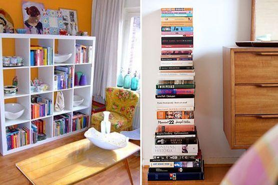 Os livros usados na decoração dão um toque divertido e moderno em qualquer lugar