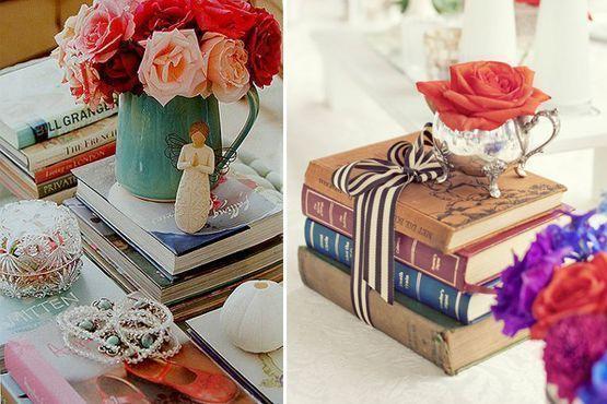 Os livros servem de apoio para enfeites