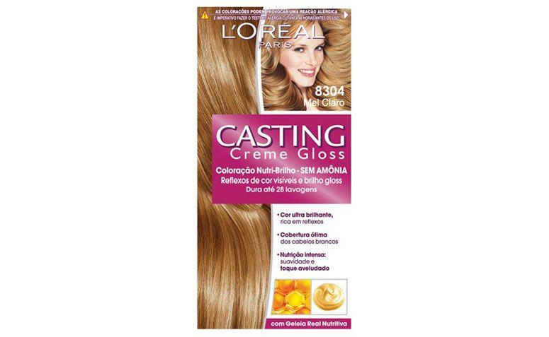 """Tintura Casting Creme Gloss Mel Claro 8304 por R$18,90 na <a href="""" http://www.lojasrede.com.br/produto/Tintura-Casting-Creme-Gloss-Louro-Mel-832-122283"""" target=""""_blank"""">Lojas Rede</a>"""