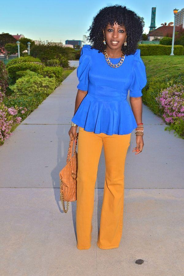 "Foto: Reprodução / <a href=""http://stylepantry.com/2012/03/27/puff-sleeve-peplum-blouse-yellow-high-waist-jeans/"" target=""_blank"">Style Pantry</a>"