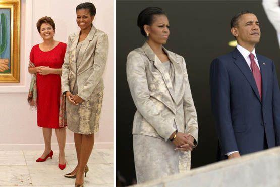 Para o encontro com a presidente Dilma Rousseff, vestido nos joelhos em tons nude e um blazer