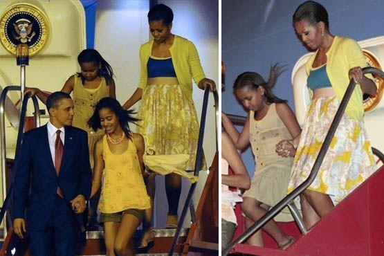 A saia rodada parece ser uma das peças preferidas de Michelle Obama