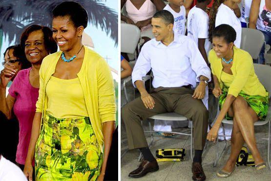 Para visitar a Cidade de Deus na manhã de domingo, a escolha foi saia estampada verde com conjunto de blusa e casaquinho em amarelo